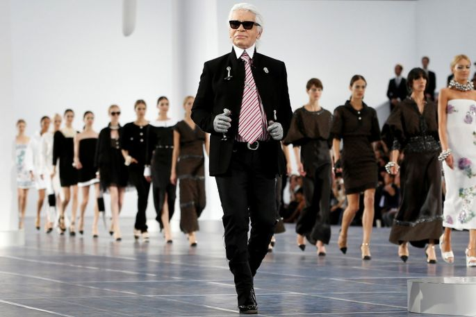 Lagerfeld on the runway.