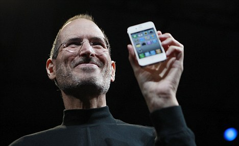 Jobs showing the iPhone at the San Francisco conference.